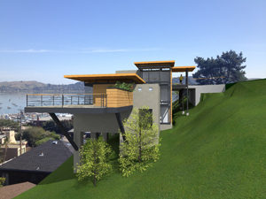 View from west of Aspire custom home design Sausalito